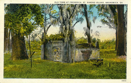 Vintage Postcard: Old Tomb at Frederica, Saint Simons Island, Brunswick, Georgia